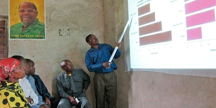 Man teaches community members for whole village project