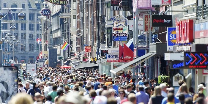 A busy sidewalk in the city