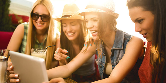women laughing and having fun