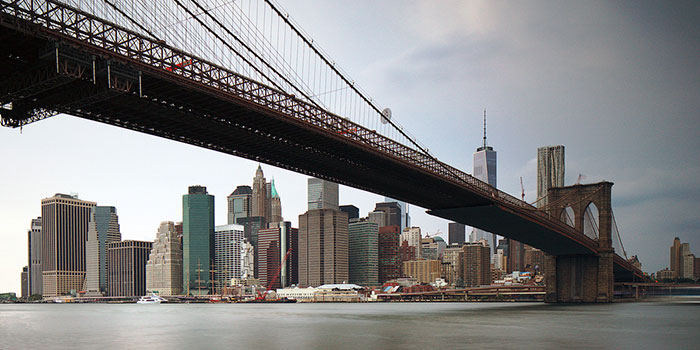 A bridge spanning to manhattan