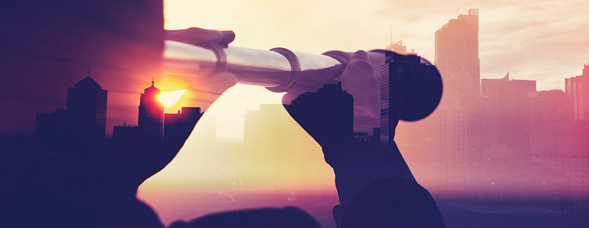 Person using a telescope to view city (horizon/bright future)