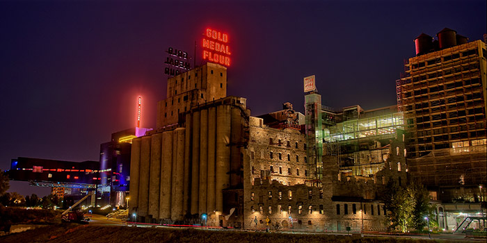 Gold Medal Flour building illuminates the night in Minneapolis