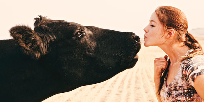 red-headed girl kissing black cow