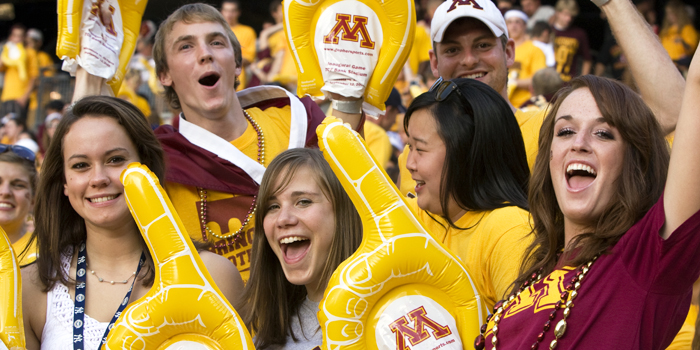 Cheering fans at First Gopher Football Game at TCF Stadium