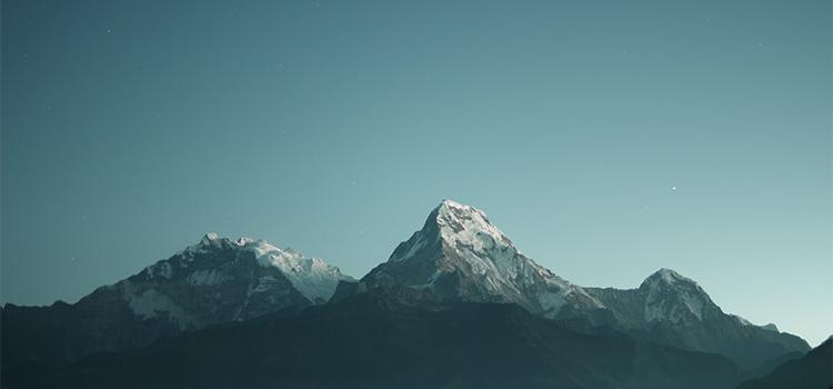 A mountain under a clear sky