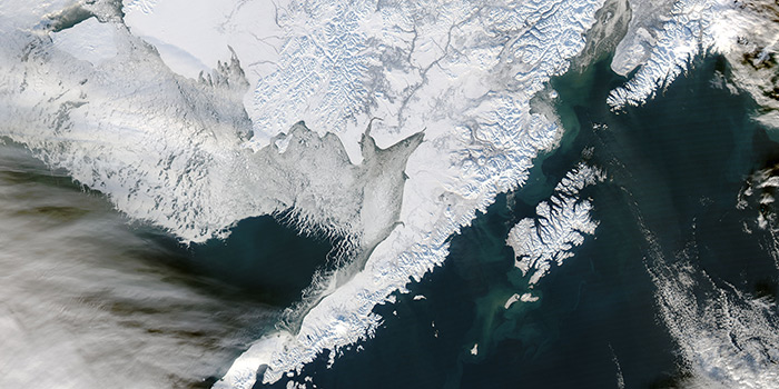 Aerial view of ice caps