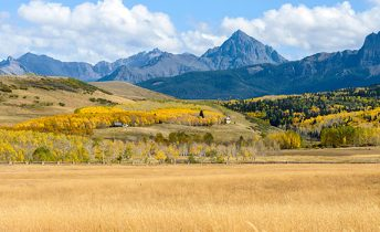 Panorama of Autumn Mountain Valley at Mt. Sneffels