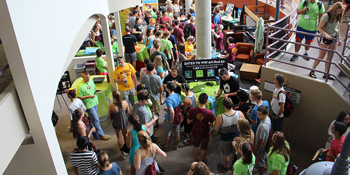 student gather for the Sustainability Action Event