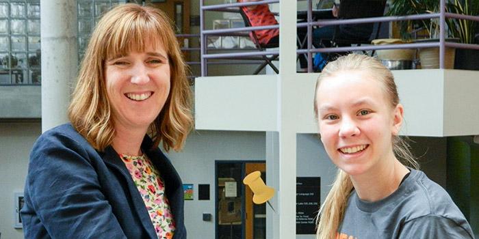IonE Director Jessica Hellmann works with intern Ora Hammel