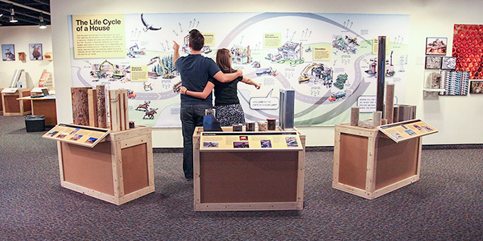 Two people engage in a Life Cycle of a House exhibit