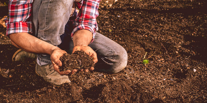 a man kneeling in a brown field with hands full of soil