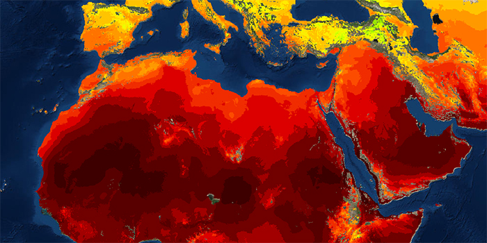 Gradient color map showing global climate change